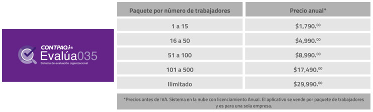 Evalúa035 - lista de precios contpaqi queretaro